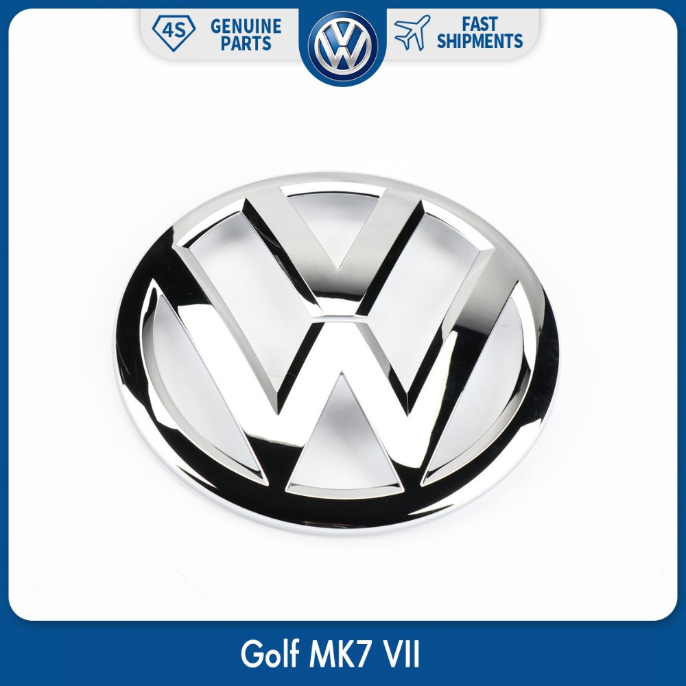 OEM Silver 140mm Car Front Center Grille Chrome Emblem Badge Sticker Logo Fit for VW Volkswagen Golf MK7 VII 5G0 853 601 2ZZ gti 16v grille emblem rhino tuning for vw golf mk2 mk1 gti 16v car grille grill badge golf matt chrome 3d abs badge car styling