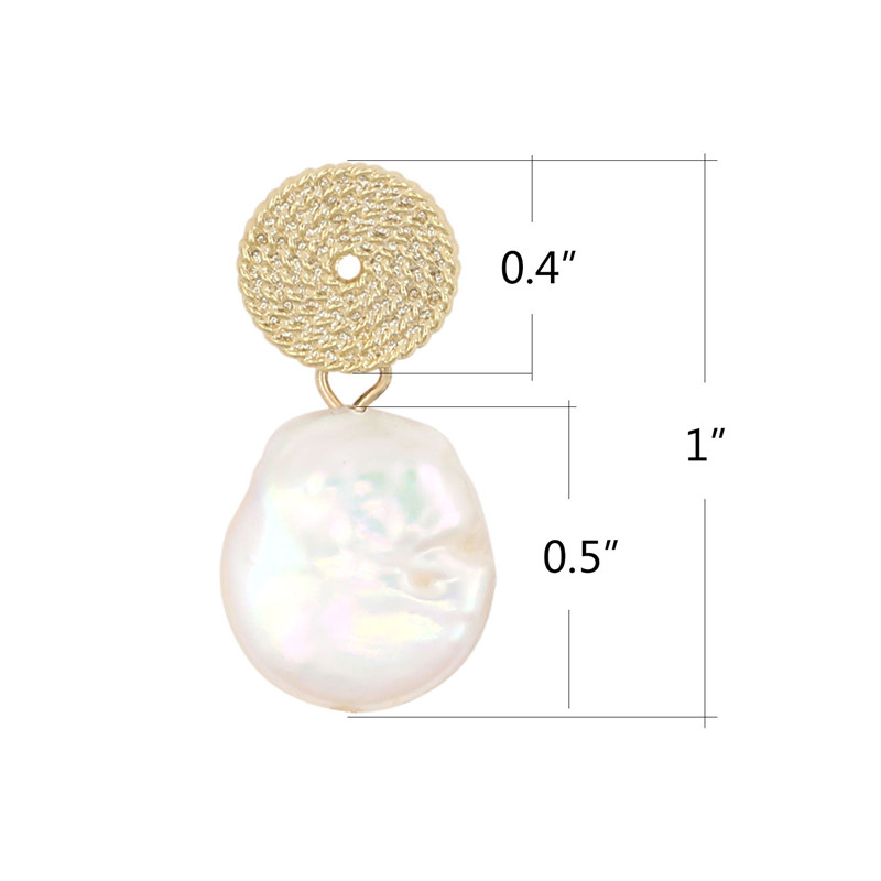 2019 Top Fashion Freshwater Pearl Earrings Disc Drop Earrings For Women Female gilding plated water drop paerl earring in Drop Earrings from Jewelry Accessories