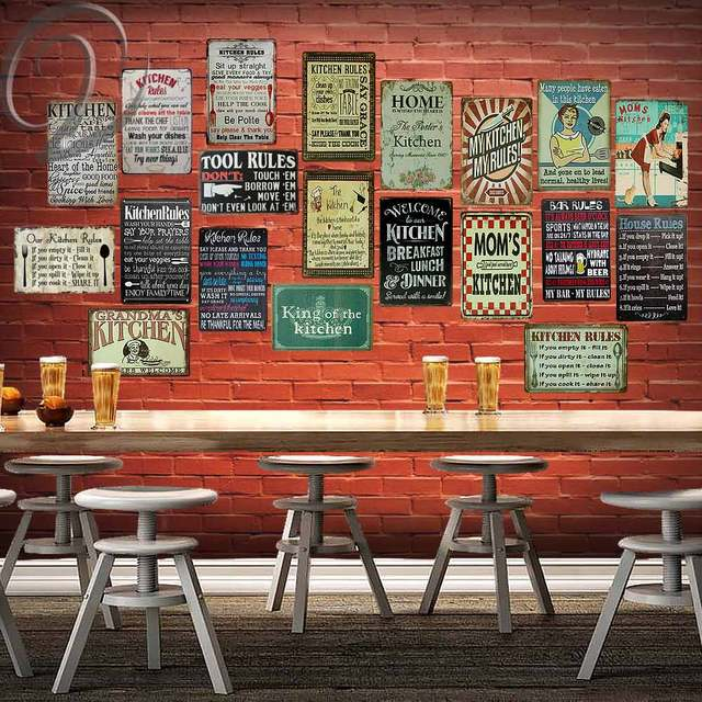 Kitchen Rules Vintage Home Decor Cafe Bar Pub Home Wall Decoration ...