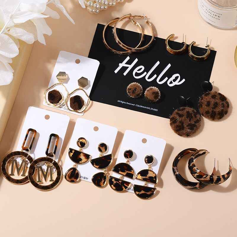 2019 New Winter Fashion Women Velvet Fur Leopard Print Drop Earrings Metal Arylic Geometric Circle Round Party Girl Pendientes