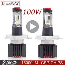BraveWay CSP светодио дный далеко H4 лампы фар светодио дный H7 лампы для автомобилей светодио дный свет для авто свет Автомобильные H11 HB3 HB4 9005 9006 faro moto