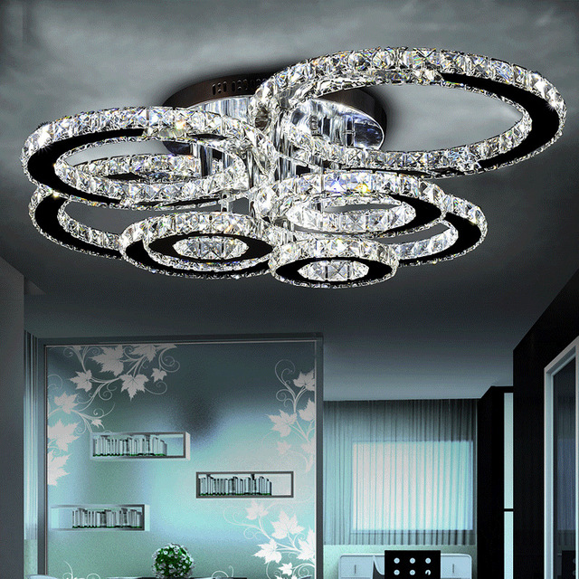 Clear LED Ring Light LED Chandelier Lustre Lighting Flush Mounted LED Circles Lamp for Dining Sitting Bedroom Restaurant Cocina
