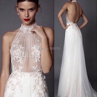 A Line Halter White Tulle Lace Appliques Sexy Hot Open Back Girls Party Evening Gowns Long 2019 Prom Dresses Formal Gowns