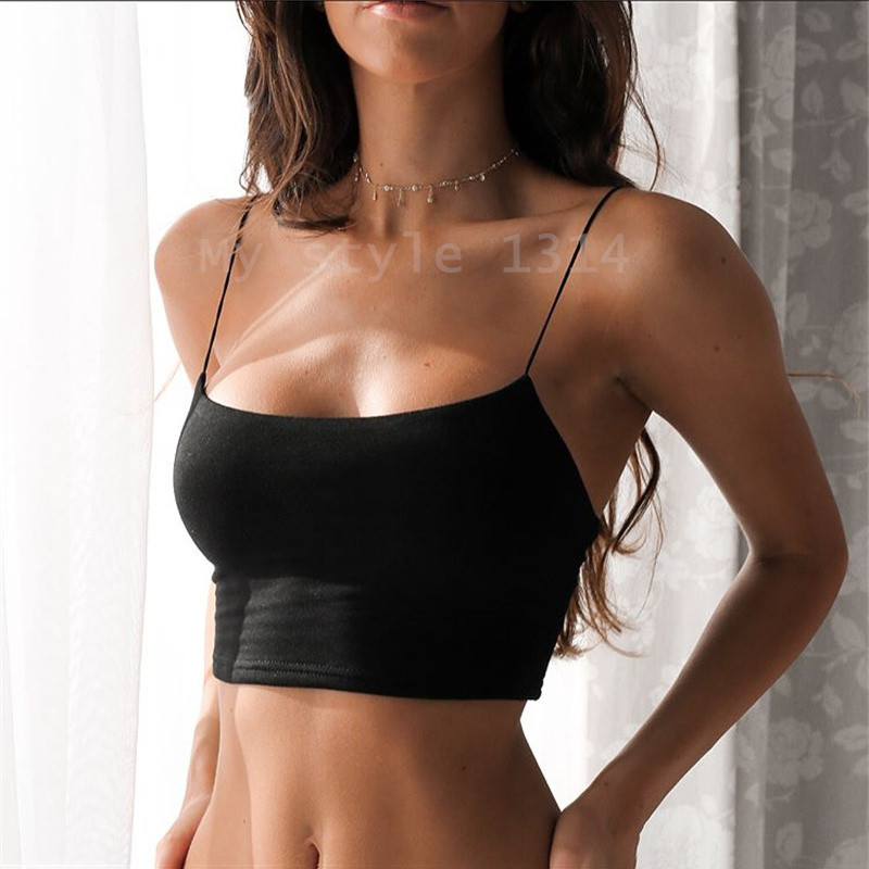 Summer Sexy Female Crop Tops 95% Cotton Women Sleeveless Straps Tank Top Solid Fitness Lady Camis Casual White Black Top W1(China)