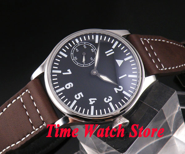 Parnis 44mm black sterial dial luminous cow leather strap 6497 hand winding movement Men's watch 123 цены онлайн