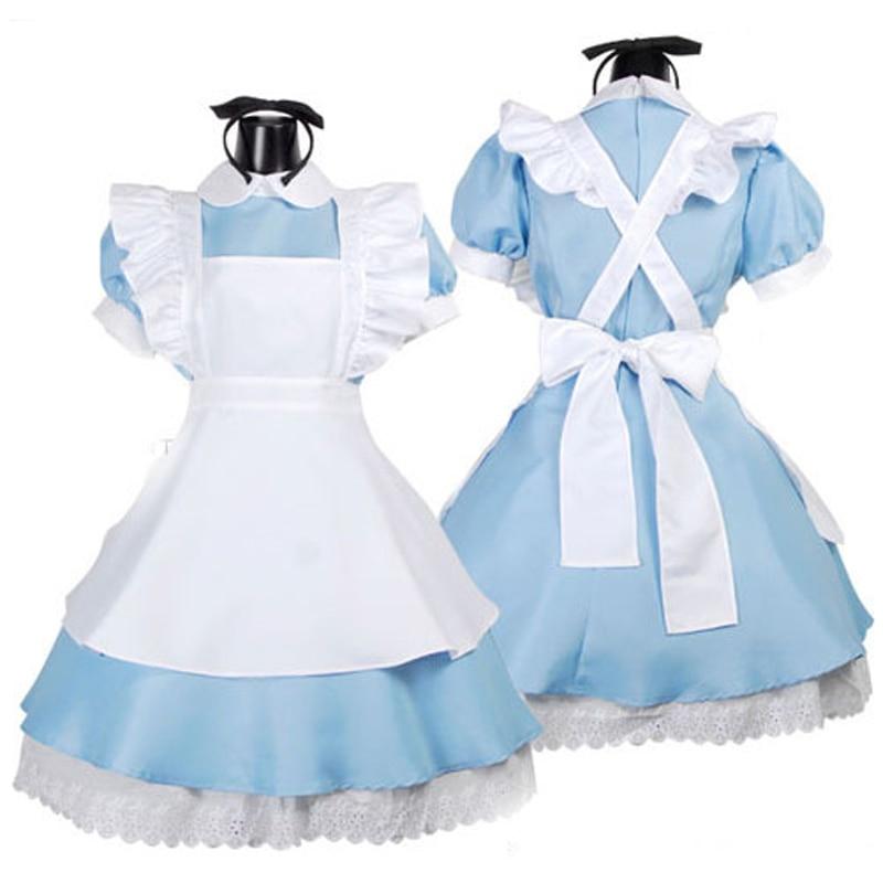 Nová Alice v říši divů Halloween Cosplay Maid Kostýmní Dívky Outfit Módní šaty