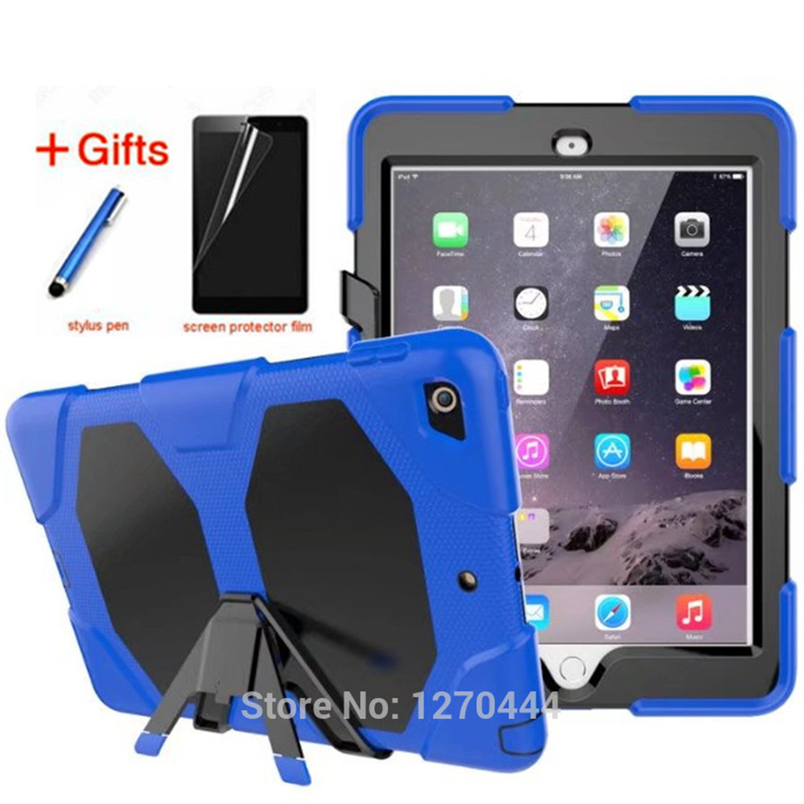 Case for iPad 9.7 2017/2018 Silicone+PC Hybrid Rugged Stand Shockproof Water Repellent Cover for iPad 6th Generation+Film+Stylus