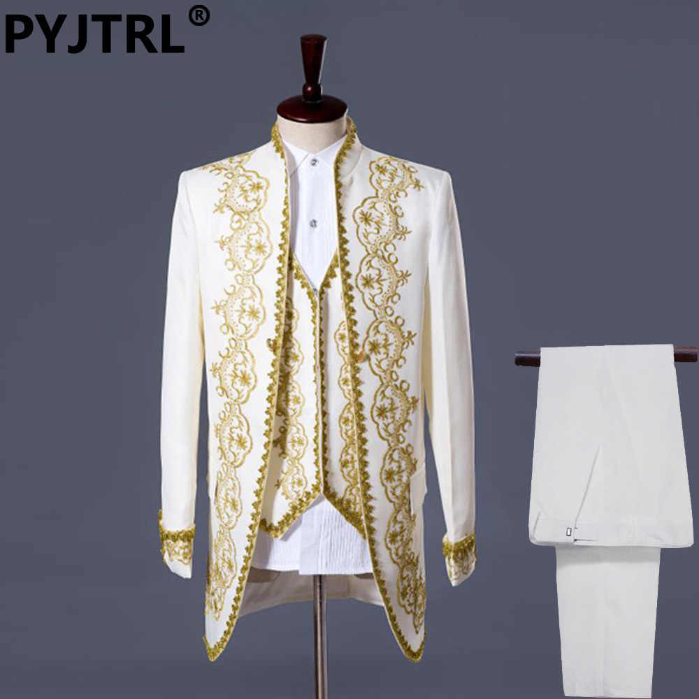 PYJTRL S-XXL Mens Classic Three Piece Embroidery Palace Stage Singer Wedding Suits Latest Coat Pant Designs Costume Homme