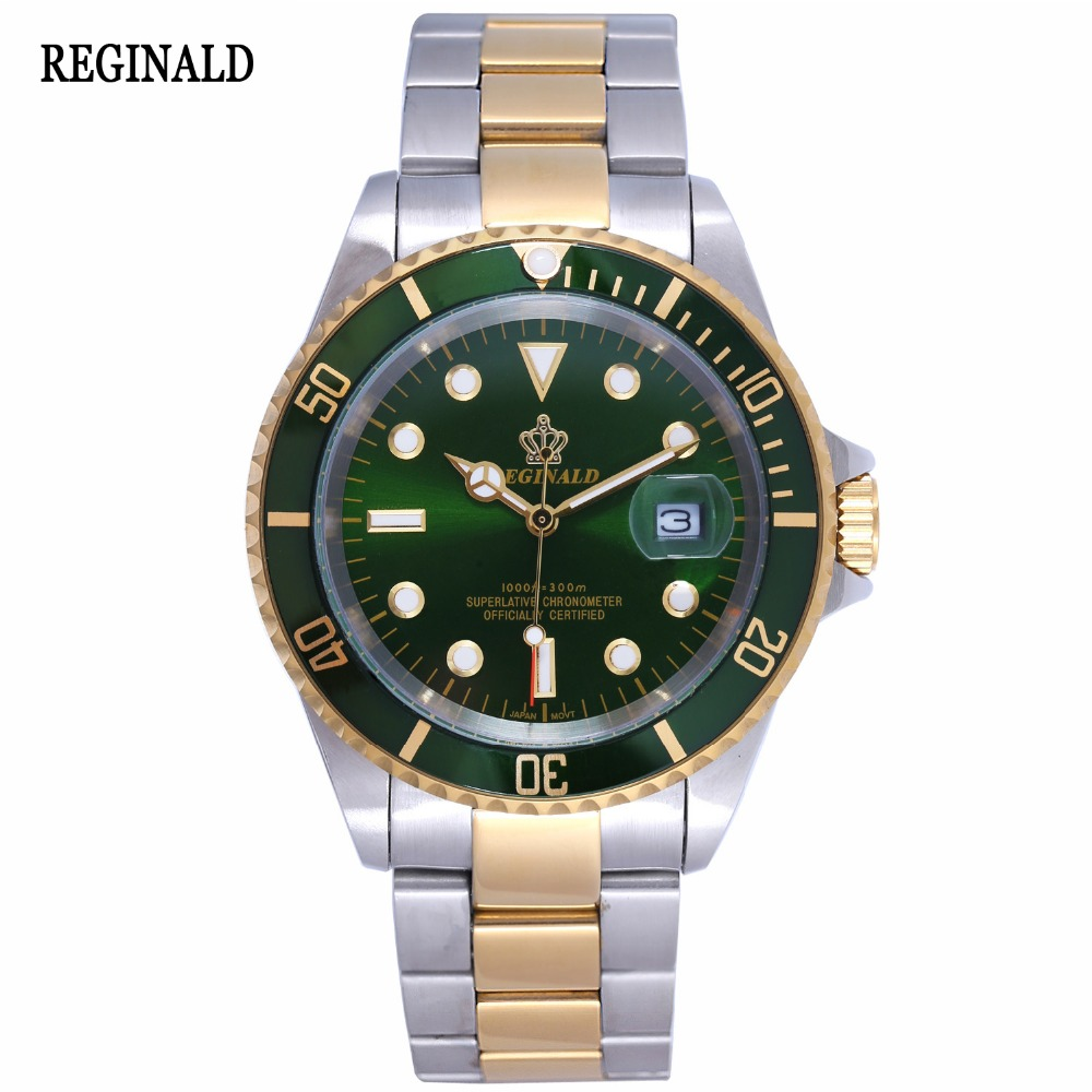Luxury Reginald Watch Men Rotatable Bezel GMT Sapphire Date gold Stainless Steel  Sport green dial Quartz Watch Reloj Hombre luxury reginald watch men rotatable bezel gmt sapphire date gold stainless steel sport blue dial quartz watch reloj hombre