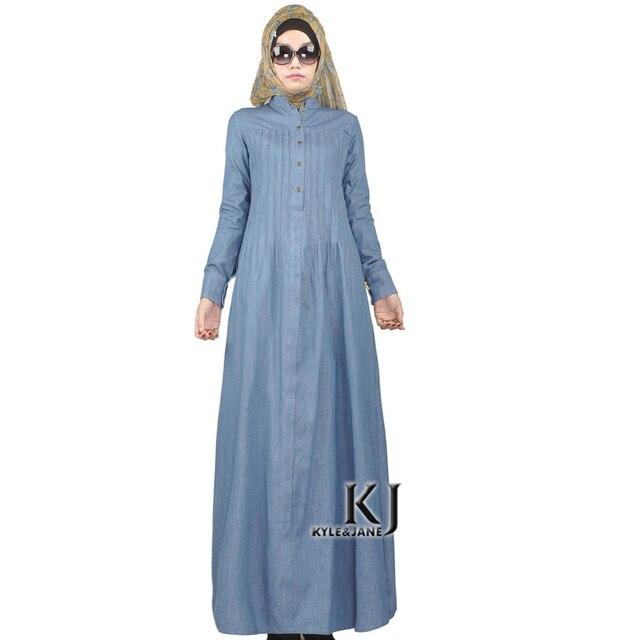 2016 Ислам вскользь абая мусульманской моды девушка джинсы платье турецкие женской одежды паранджу халат плюс размер дубай арабские djellaba KJ160203