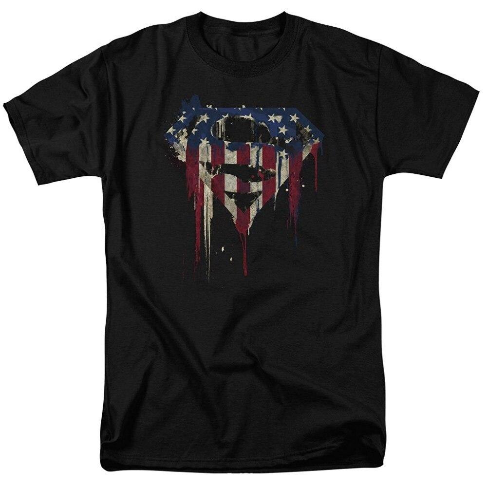 2017 Последние Мода Superman Logo S Щит Американский Флаг Краской Футболка Мужская Мода Новинка С Коротким Рукавом Ти Топы Одежда