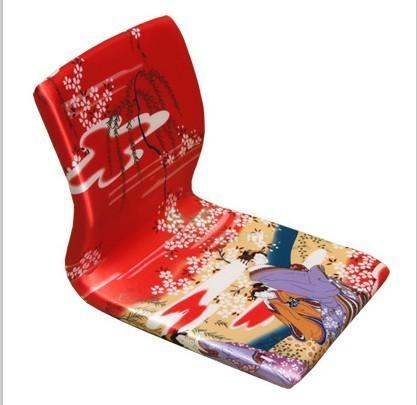 (4 pçs/lote) Zaisu Japonês Cadeira Red Geisha Asian Mobiliário Sala Chão Tatami Meditação Encosto Cadeira Sem Pernas Atacado