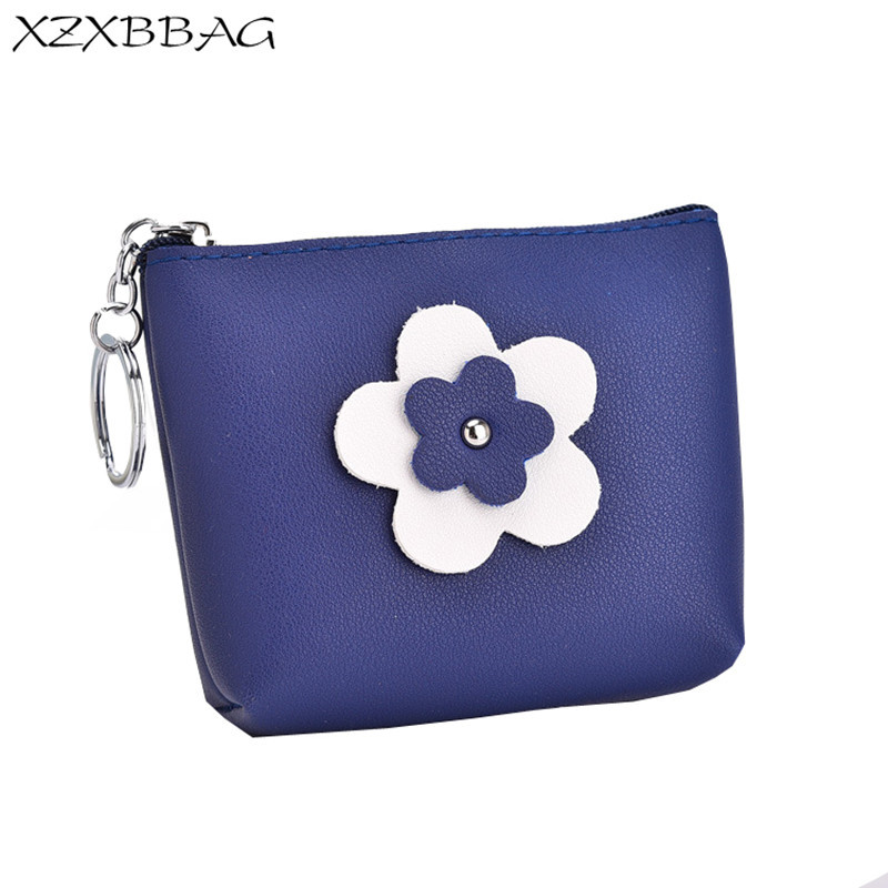 XZXBBAG Women Cute Flowers Short Coin Purse Female Zipper Small Wallet Girls Change Purse Money Bag Lady Mini Keyring Pouch thinkthendo 3 color retro women lady purse zipper small wallet coin key holder case pouch bag new design