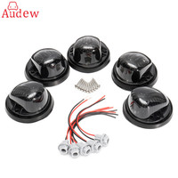 5Pcs Black Amber Car Cab Roof Marker Light Round Cover With Black Base For 73 87