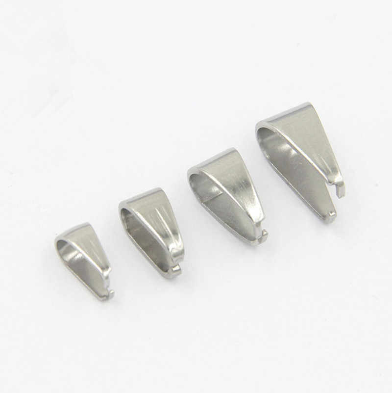 100pcs 3X7/4X9/5X10mm Stainless Steel Hook Pendant Clasp Pinch Clips Bail Pendants for DIY Necklace Jewelry Findings Accessories