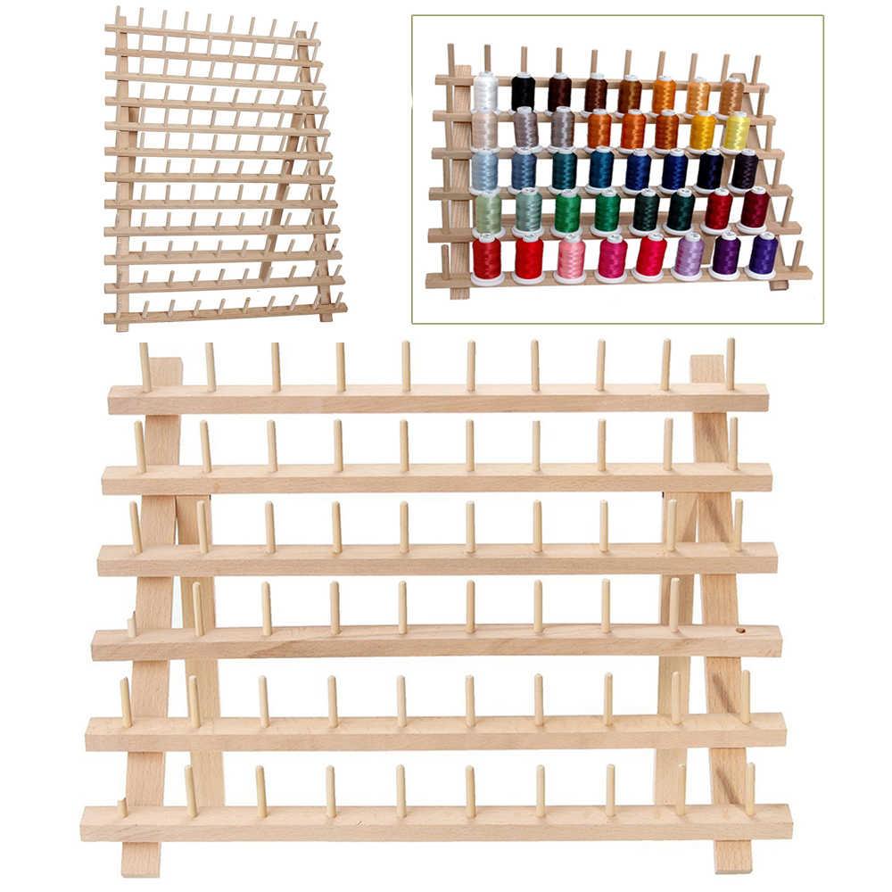 Складной Деревянный стойка для ниток стойка вмещает Органайзер настенное крепление 60 катушка конус вышивка машинное Шитье держатель для хранения