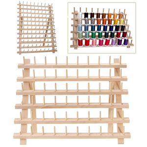 Image 2 - Foldable Wood Thread Stand Rack Holds Organizer Wall Mount 60 Spool Cone Embroidery Machine Sewing Storage Holder