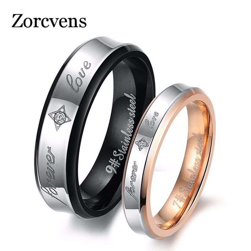 "ZORCVENS Stainless Steel Rings Spell color Pattern Stamp ""Forever Love"" Couple Ring Wedding Rings Engagement Rings(China)"