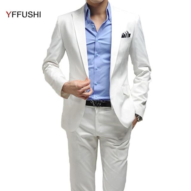 yffushi 2018 hommes costume 2 pi ces un bouton homme mariage blanc partie robe meilleur homme de. Black Bedroom Furniture Sets. Home Design Ideas