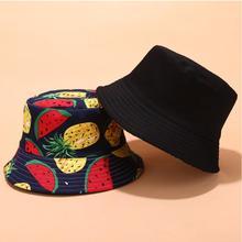Двусторонняя шапка-ведро с фруктами и вишнями для мужчин и женщин Рыбацкая шляпа Панама Боб летняя шляпа с ананасом, арбузом, лимоном