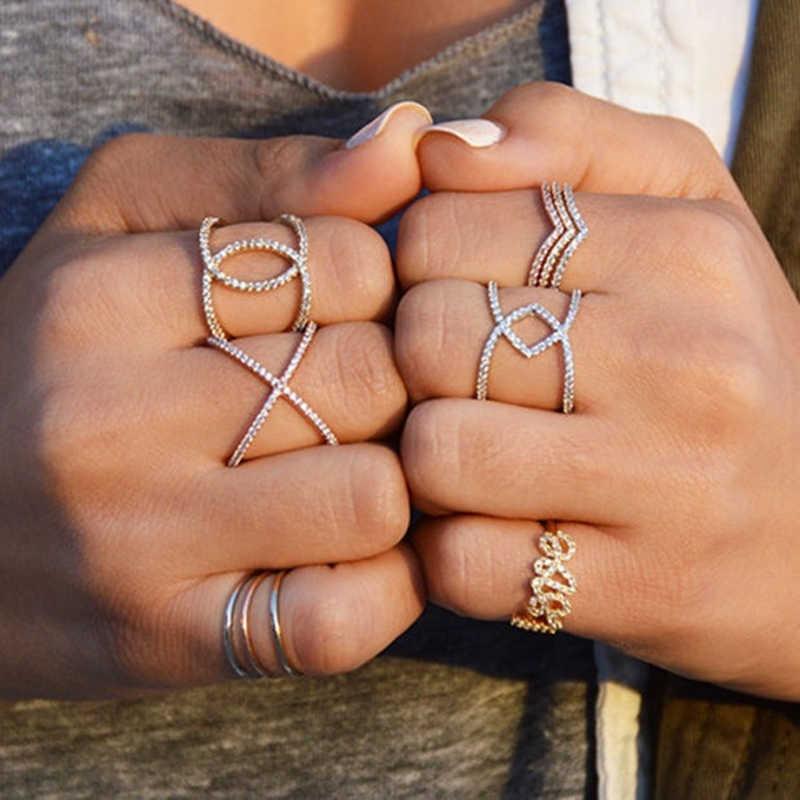 SHART โค้งสง่างาม V รูปร่างบาง Cz แหวนเงินสี V แหวนแต่งงานแหวนผู้หญิงเครื่องประดับของขวัญ