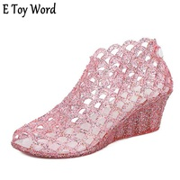 E Toy Word 2018 Summer New Female Style High Heel Fishmouth Sandals Crystal Powder Transparent Jelly