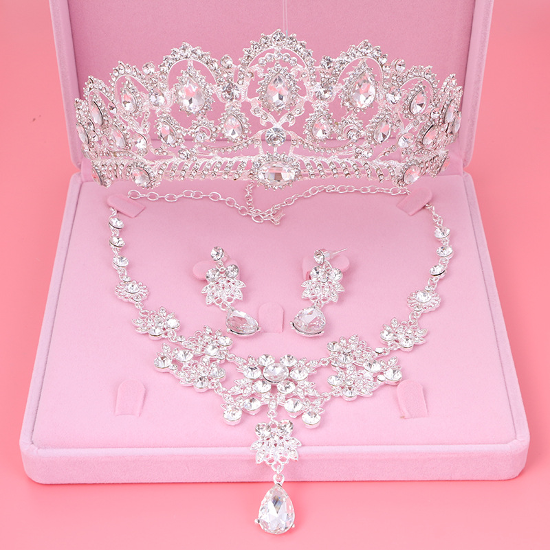 Noble Crystal Bridal Jewelry Sets Silver Fashion Wedding Jewelry Rhinestone Tiara Choker Necklace Earrings for Bride Accessories ...