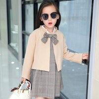 Kids girls dress+coat clothing set Spring Autumn Girls' dresses Teens girls coats dresses England plaid clothing 2pcs sets