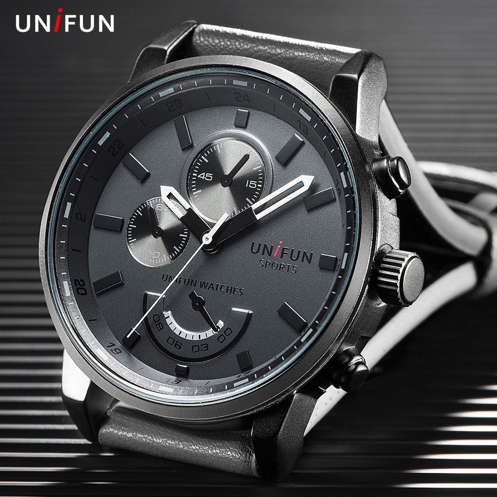 UNIFUN Men Top Luxury Brand Fashion Casual Quartz Male waterproof Relogio Masculino Army Military Round Dial