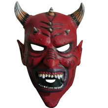 Scary Latex Halloween Devil Horn Skeleton Hood Face Mask, Horror Ghost Full Face Mask Cosplay Carnival Fancy Costume Party Props