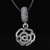 ROCKART Pure 925 Sterling Silver Shimmering Rose Openwork Charm With CZ Fits European Bracelet Fine Jewelry