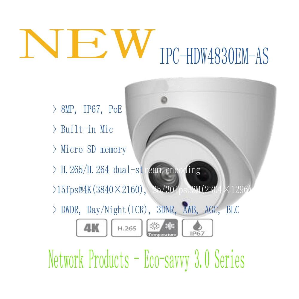 bilder für DAHUA 2016 NEUE Produkt IP Kamera 8MP FULL HD IR Augapfel Netzwerk Kamera mit POE IP67 Ohne Logo IPC-HDW4830EM-AS