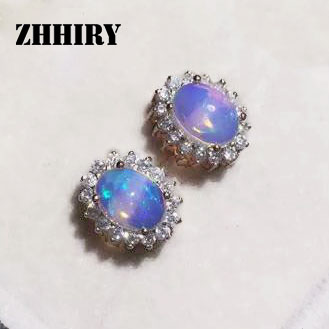 ZHHIRY Genuine Fire Opal Earring Solid 925 Sterling Silver Natural Stone Earrings Women Fine Gem Jewelry