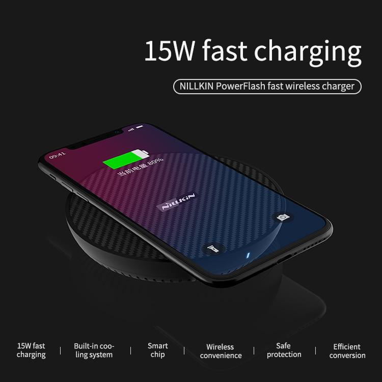15 w Fast Charger Pad para iphone XS Max X XR NILLKIN Qi Carregador Sem Fio para Samsung Note9 S9 PowerFlash huawei companheiro S8 20 pro