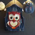 casual girls denim vest children outwear good quality kids waistcoat owl sequin vest  2-7y toddler girls clothing