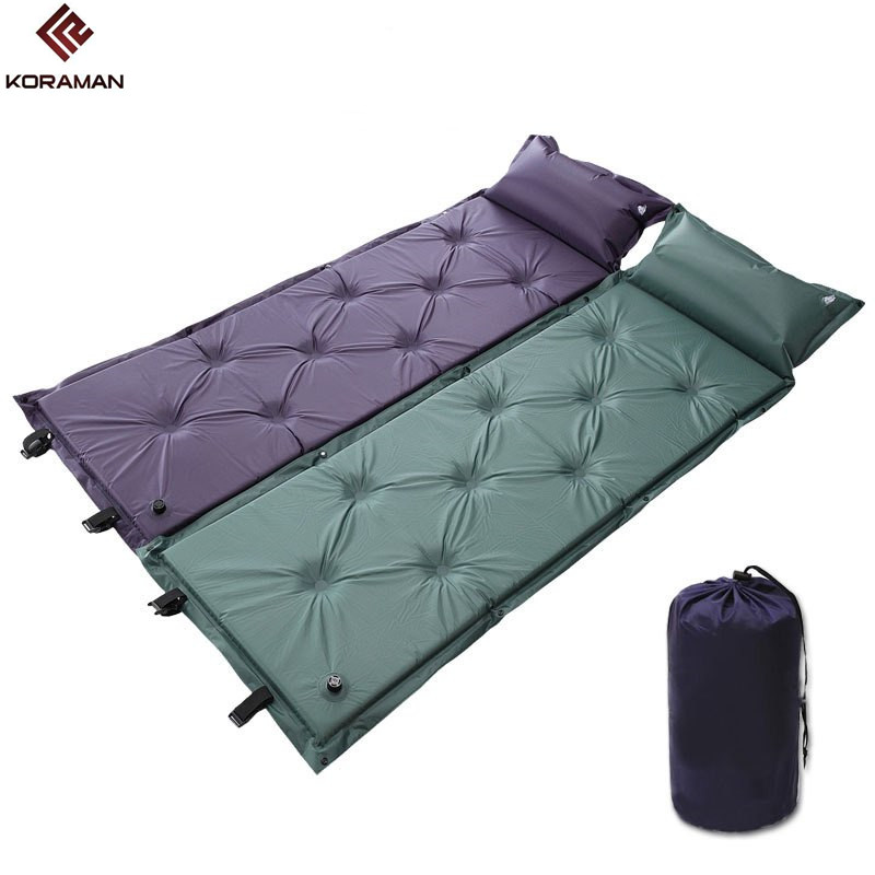 KORAMAN Brand Multifunctional Wholesale Double Automatic Inflatable Cushion Camping Outdoor Thickened Picnic Mat Can Be Spliced hewolf 200 65 4cm high quality 4cm thickening single moistureproof comfortable camping outdoor mat with pillows can be spliced