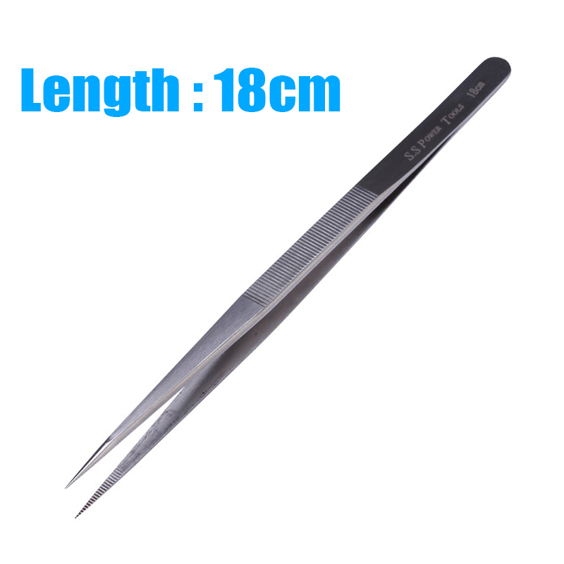 18cm Long Precision Tweezers Pinzas Pincet Stainless Steel Tweezers For Electronic Mobile Phone Repair Tools