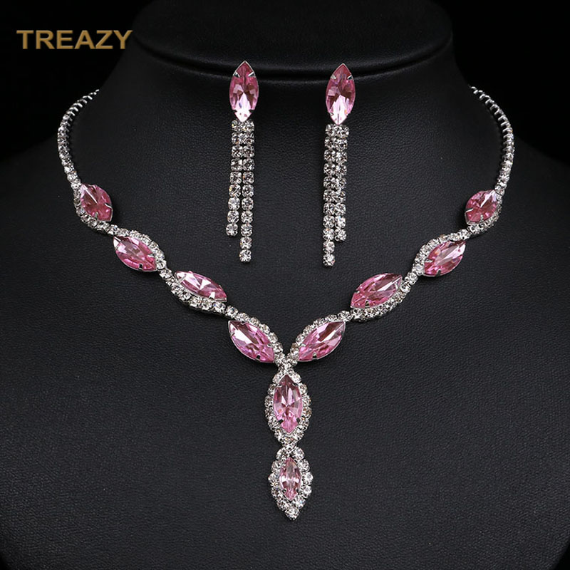 Fashion Leaf Tassel Wedding Jewelry Sets Charm Pink Crystal Choker Necklace Earrings Set Bridal Jewelry Sets Women Accessories