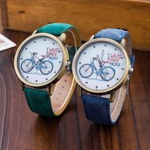 2017 Fashion Women Girl Kids Bike Watches Vintage Wristwatch Canvas Fabric Strap Bicycle Pattern Quartz Cartoon Watch gift Clock