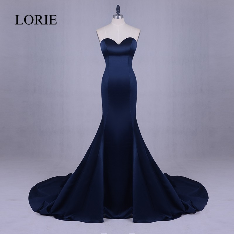 Cheap and Simple Party Evening Dress Long 2018 Sweetheart Navy Blue Mermaid Prom Dresses Formal Women