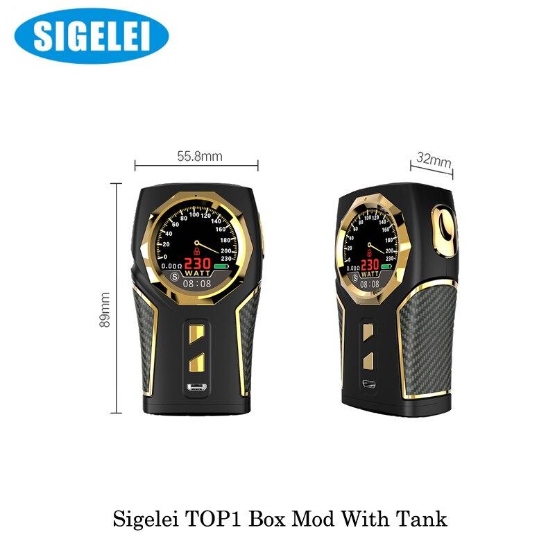 Cigarette électronique Sigelei Vape Top1 Sigelei Top 1 230 W boîte Mod avec réservoir P9 Sub Ohm 2 ML/RDA Kit par vaporisateur de batterie 18650