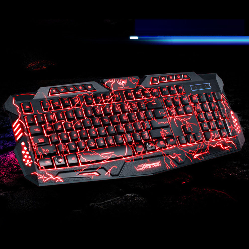 Best Price 3 Colors USB Illuminated Led Backlit Backlight Gaming Crack Keyboard M200
