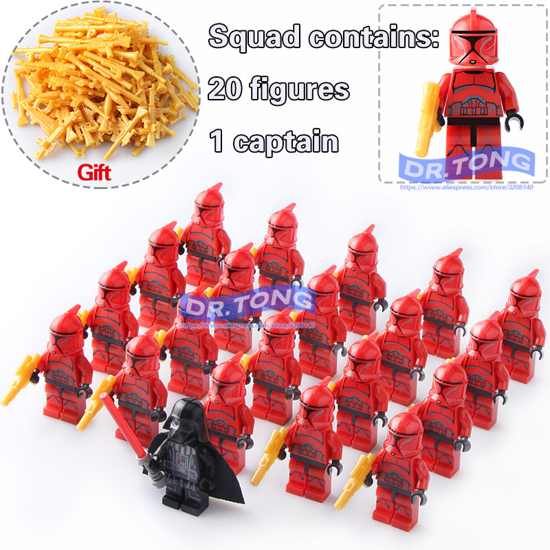 DR.TONG 21pcs/lot Star Wars Clone Trooper Darth Vader Figure Stormtrooper with Weapons Building Blocks Diy Toys Children Gifts ksz star wars minifig darth vader white storm trooper general grievous figure toys building blocks