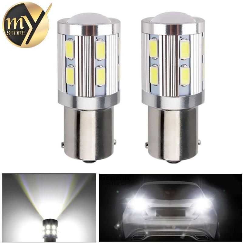 все цены на 2pcs 1156 BA15S 12 SMD Samsung 5730 led High Power lamp p21w R5W Car LED bulbs rear brake Lights Source parking White 12V онлайн