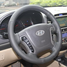 New Anti Slip Black Leather Steering Wheel Stitch on Wrap Cover For Hyundai Santa Fe 2012 santa fe junior