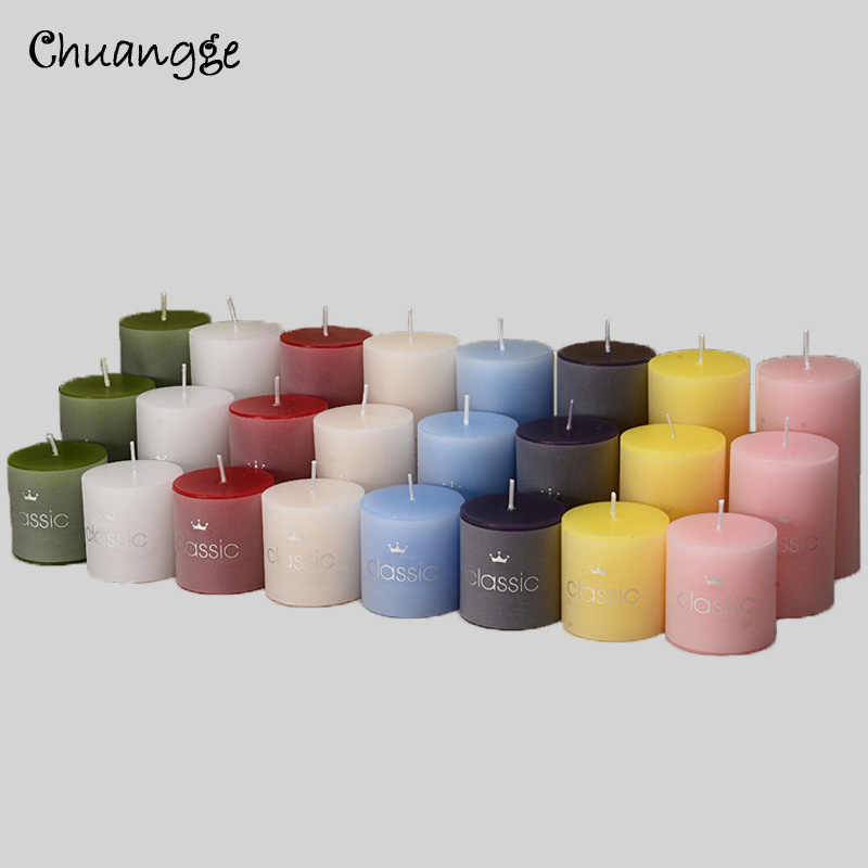 CHUANGGE Classic Cylindrical Candle Decor Scented Romantic Smoke-Free Western Food Restaurant Column Wax Candle Wedding Birthday