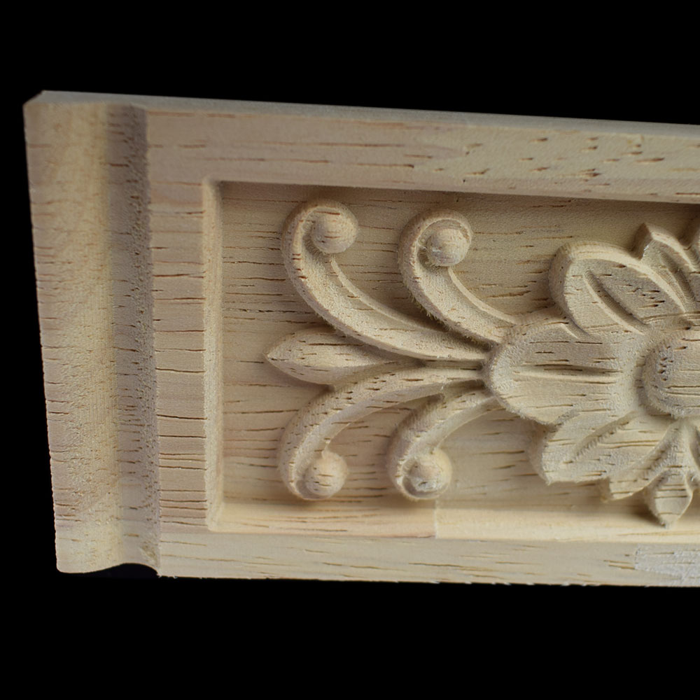 Wood Applique Woodcarving European style Carved Vertical Long Flower Tablet Home Decoration Accessories Ornaments Decorations in Figurines Miniatures from Home Garden