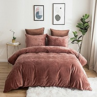 PHF Velvet Duvet Cover Set 3 Pieces Luxury Soft Solid Bedding Set for Summer King Queen Size Grey Light Blue Burgundy Khaki