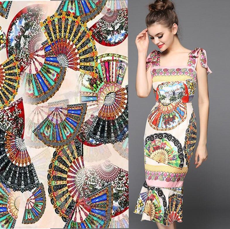 Telas pink Fan printed dress japan style Cheongsam silk fabric quality 97% silk 3% stretch tissus au metre tecido 19MM