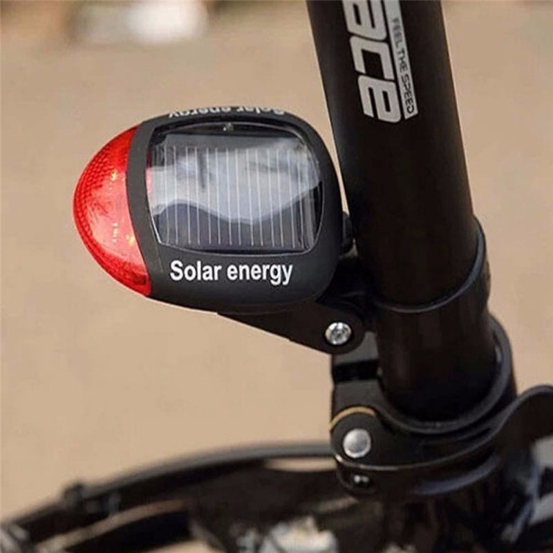 Bicycle Taillight Solar Energy LED Cycling Rear Lamp Bike Bicycle Head Front Light Warning Flashlight With Installing Mount(China)